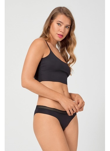 Cottonhill Vişne File Lastikli Lazer Kesim Kadın Bikini Külot Siyah